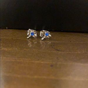 Kids Blue Gem Dragonfly Stud Earrings